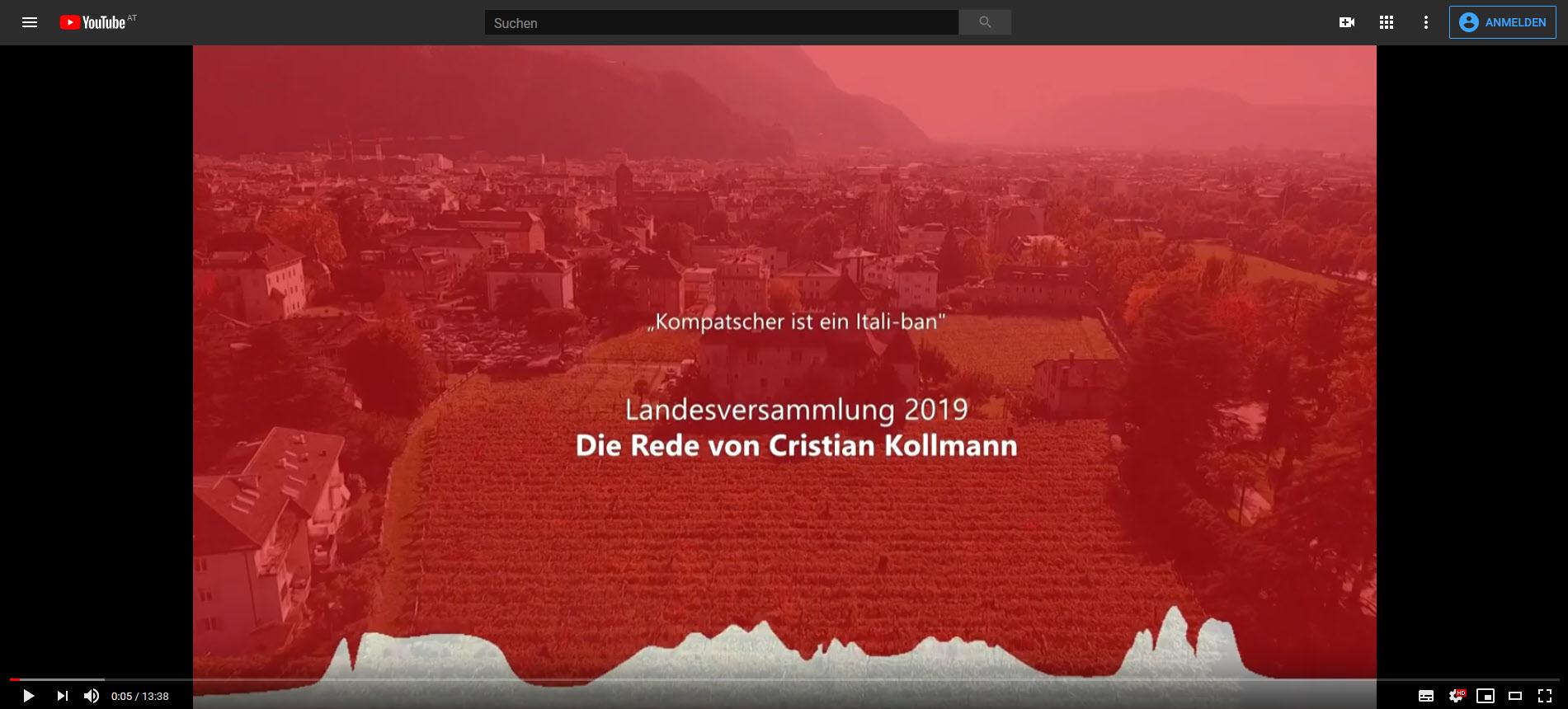 """""""Kompatscher ist ein Itali-ban"""" – Die Rede von Cristian Kollmann auf der Landesversammlung 2019"""