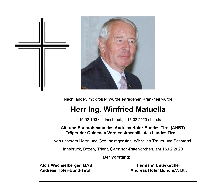 Ing. Winfried Matuella, langjähriger ÖVP Funktionär und Obmann des Andreas Hofer Bundes Tirol (AHBT) verstorben.
